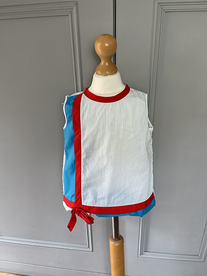 Vintage (new) Girls blue, red, white striped top age 12- 24 months