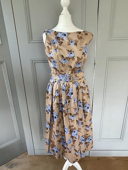 Rachel Riley floral brown/blue 50s dress. UK8/10