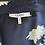 Thumbnail: Ganni navy crepe tea dress  UK10 rrp£245