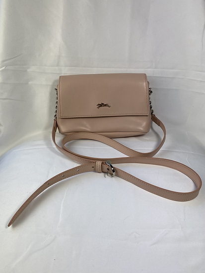 Longchamp nude leather bag with chain