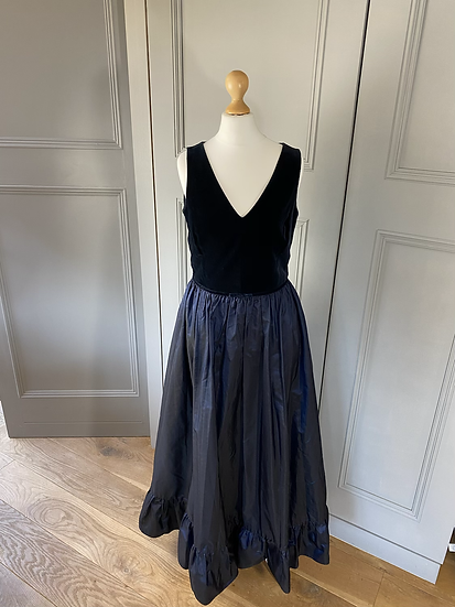 Vintage Laura Ashley navy velvet/taffeta maxi dress. Modern Uk 10