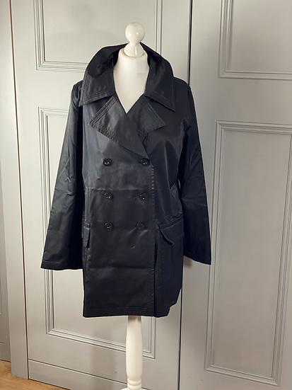 Whistles black satin trench coat. UK14