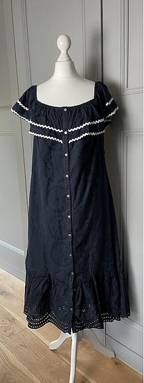 Monsoon navy cotton broderie dress Uk 12