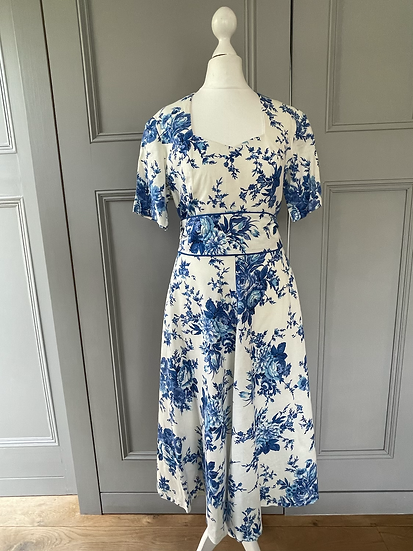 Susan Gillis-Browne vintage blue rose dress Uk10