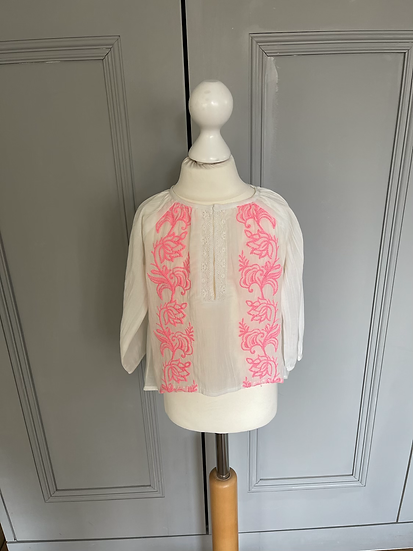 BNWT Pampelone white and neon pink top age 3-4