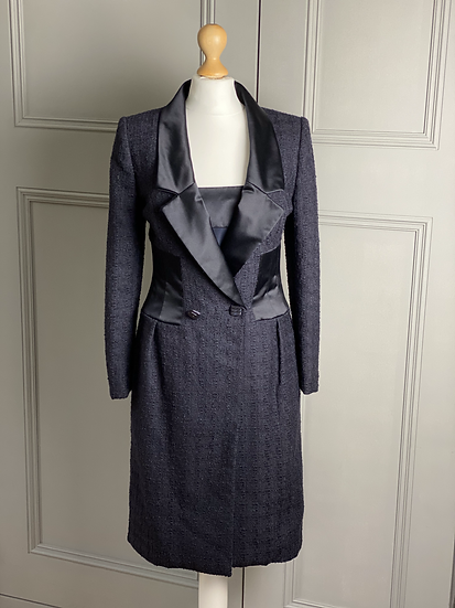 Bruce Oldfield Couture navy tweed jacket and silk dress UK4-8