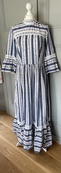 Vintage cotton blue maxi dress Uk12/14