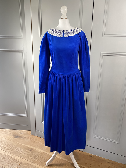 Vintage Laura Ashley cobalt blue needlecord dress with lace collar UK8/10
