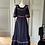 Thumbnail: Vintage 70s navy maxi dress with pink/white ribbon UK8-10