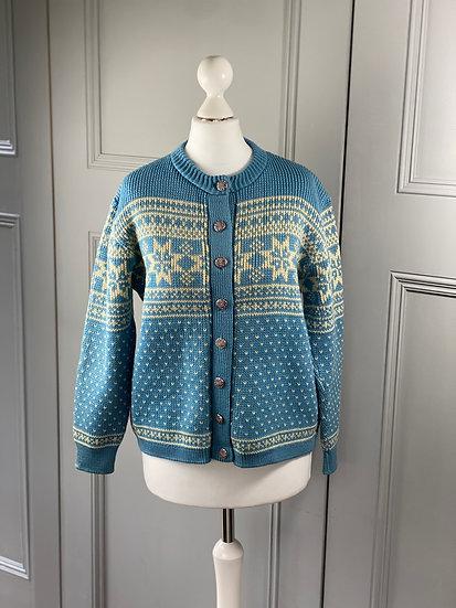 Vintage blue/cream Norwegian cardigan UK8/10