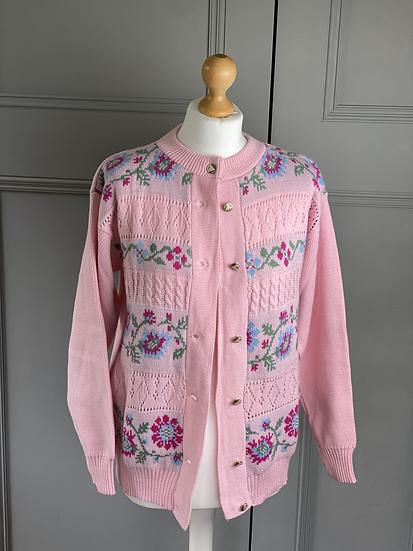 Vintage pink cotton/wool blend floral cardigan uk 12-16