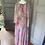 Thumbnail: Vintage John Charles pink & grey floaty evening dress UK 10-12