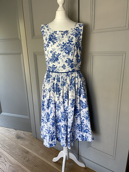 Monsoon 50s style cotton white/ blue dress Uk12