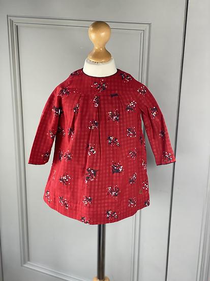 Petit Bateau red/gold dress 12mths