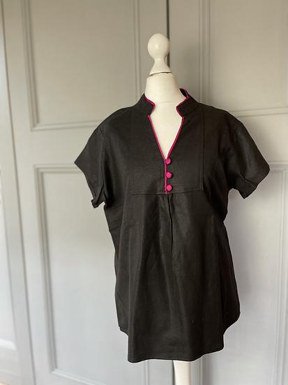 Black cotton oriental style top. UK12