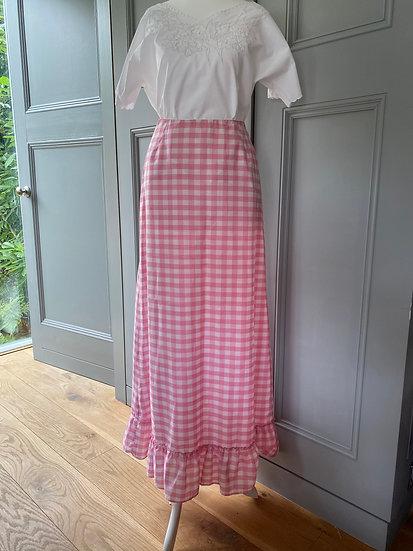 Vintage pink gingham maxi cotton skirt UK6/8/10