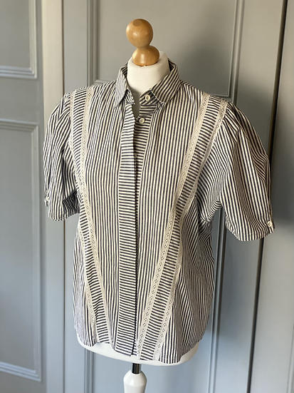 Vintage striped shirt with broderie anglaise panels. Uk12/14