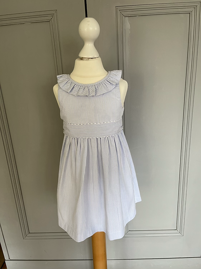 Confiture (Trotters) girls blue and white striped dress age 2