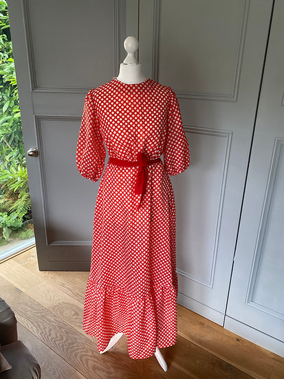 Vintage 70s amazing red polka dot maxi dress UK8-12