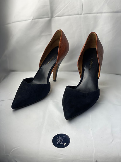 3.l Phillip Lim black suede and leather tan heels (40)
