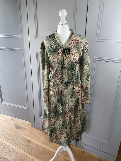Vintage wool mix autumnal pattern dress with bow UK 12-16