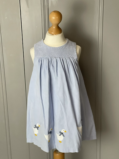 Girls Trotters baby blue duck dress age 18/24 months