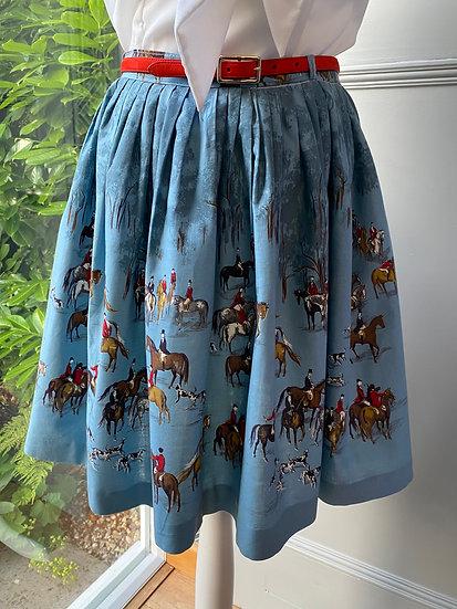 Vintage blue/horse & hound skirt UK 6-10