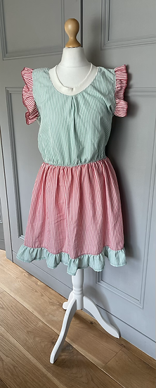 Vintage green/red/ white striped dress UK8