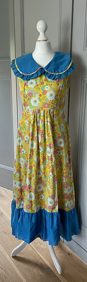 Girls yellow and blue floral maxi dress age 10-12