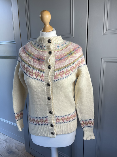 Vintage 70s fair isle cardigan UK 6-10