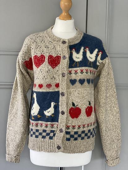 Vintage wool duck/hen cardigan. Uk10/12