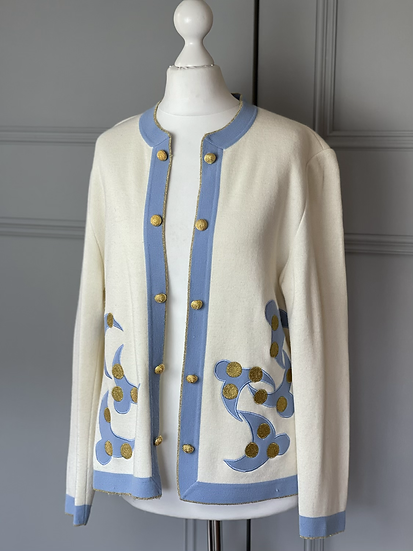 Vintage 80s wool blend cream/blue/gold cardigan UK 12