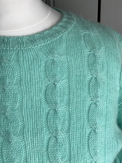 Lamberto Lasani cashmere mint green cable knit jumper UK8-12