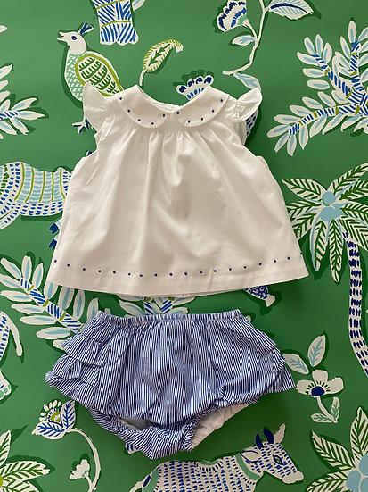 BABY 6 mths Ralph Lauren cotton white and blue twin set