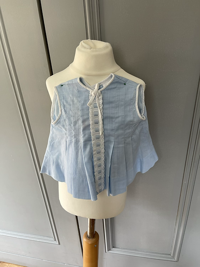 Vintage St Michael girls blue and white cotton dress age 6-13 months