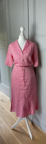Gerard Darrel pink linen shirt and skirt co-ord set. UK10/12