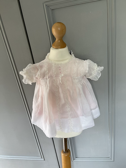Vintage baby Girls pink and white dress 3mths