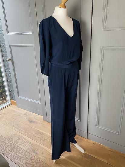 Diane Von Furstenberg navy silk jumpsuit. Uk10/12