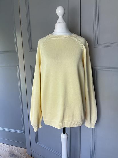 Vintage 80s lemon cotton jumper Uk 14