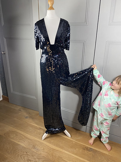 Temperley London black heart sequin jumpsuit