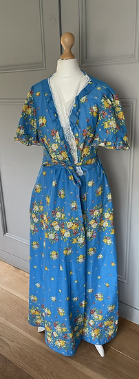 Vintage Blue floral wrap dress/cover up Uk8