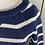 Thumbnail: CARDIGAN navy/white Breton chunky cotton jumper.  S