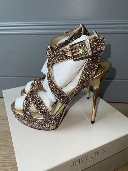 Jimmy Choo rainbow  glitter sandals size 35.5 rrp£595