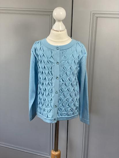 Girls Rachel Riley blue jewelled button cardigan. 4yrs
