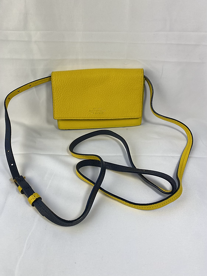 Smythson Panama yellow leather body bag