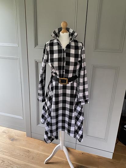 Vintage B&W gingham shirt dress UK10-14