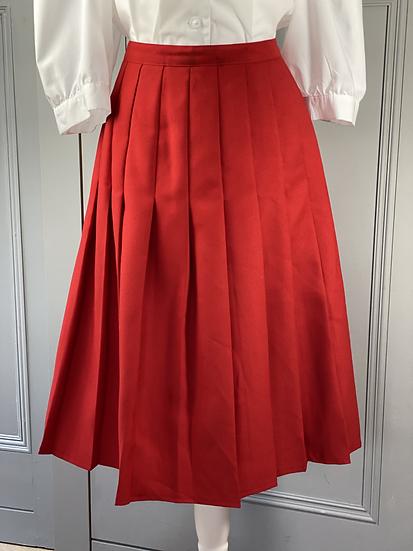 Vintage Red wool pleated skirt UK12/14