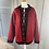 Thumbnail: Vintage Norwegian red wool/black heart cardigan.  L/XL