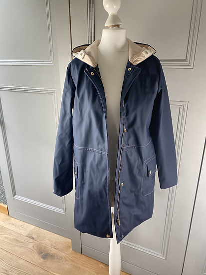 Girls CHLOE navy rain coat with pink lining 12yrs