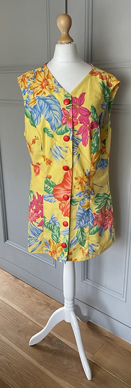 Vintage yellow floral mini dress up to Uk12
